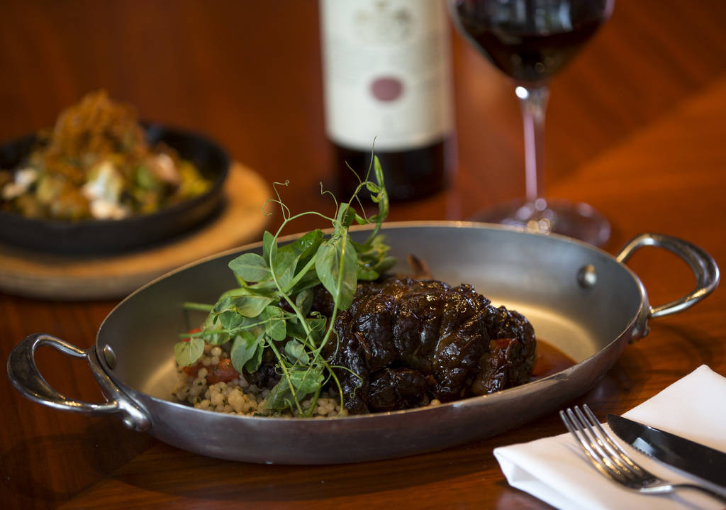 Lamb shank with Sardinian couscous, radicchio and anchovy lemon vinaigrette at Masso Osteria inside Red Rock Casino in Las Vegas on Monday, May 21, 2018. Richard Brian Las Vegas Review-Journal @ve ...