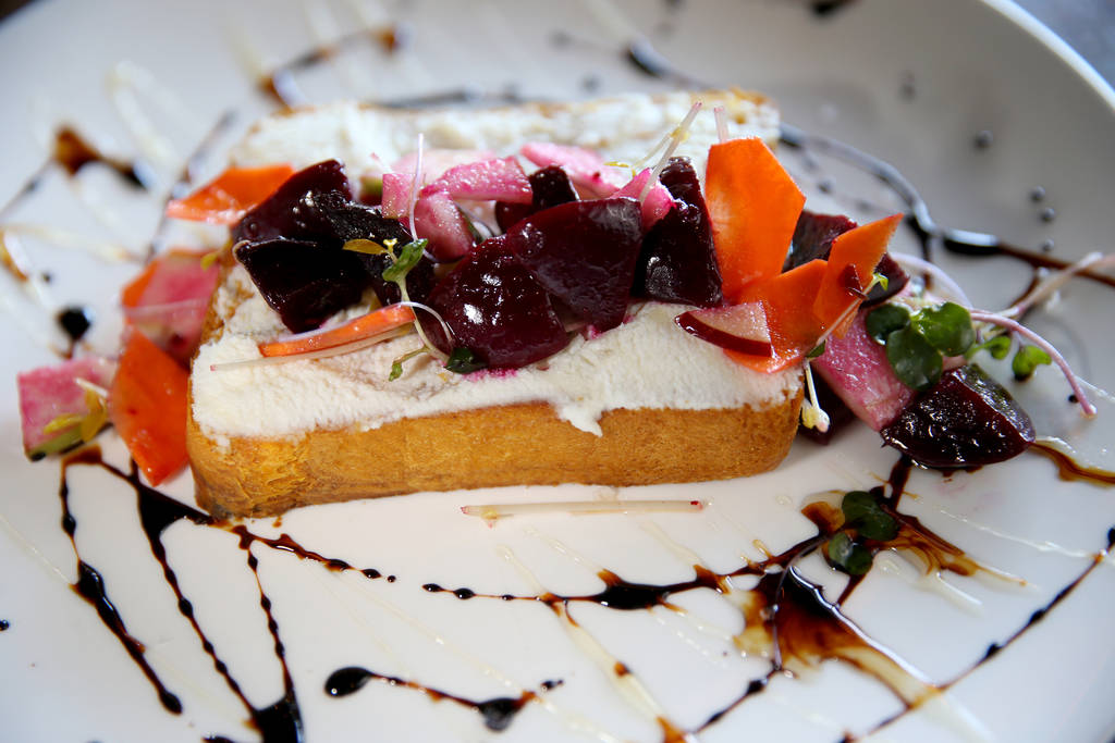 Downtown Farmer's Ricotta Toast at Flock & Fowl DTLV located inside The Ogden at Ogden Avenue and Las Vegas Boulevard in downtown Las Vegas Saturday, May 26, 2018. K.M. Cannon Las Vegas Review ...