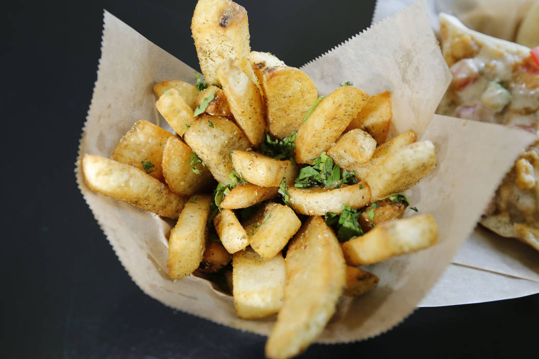 Egyptian Fries is served at Pots in Las Vegas, Thursday, June 7, 2018. Pots is a vegan and vegetarian restaurant, which serves Egyptian cuisine. (Chitose Suzuki/Las Vegas Review-Journal) @chitosephoto