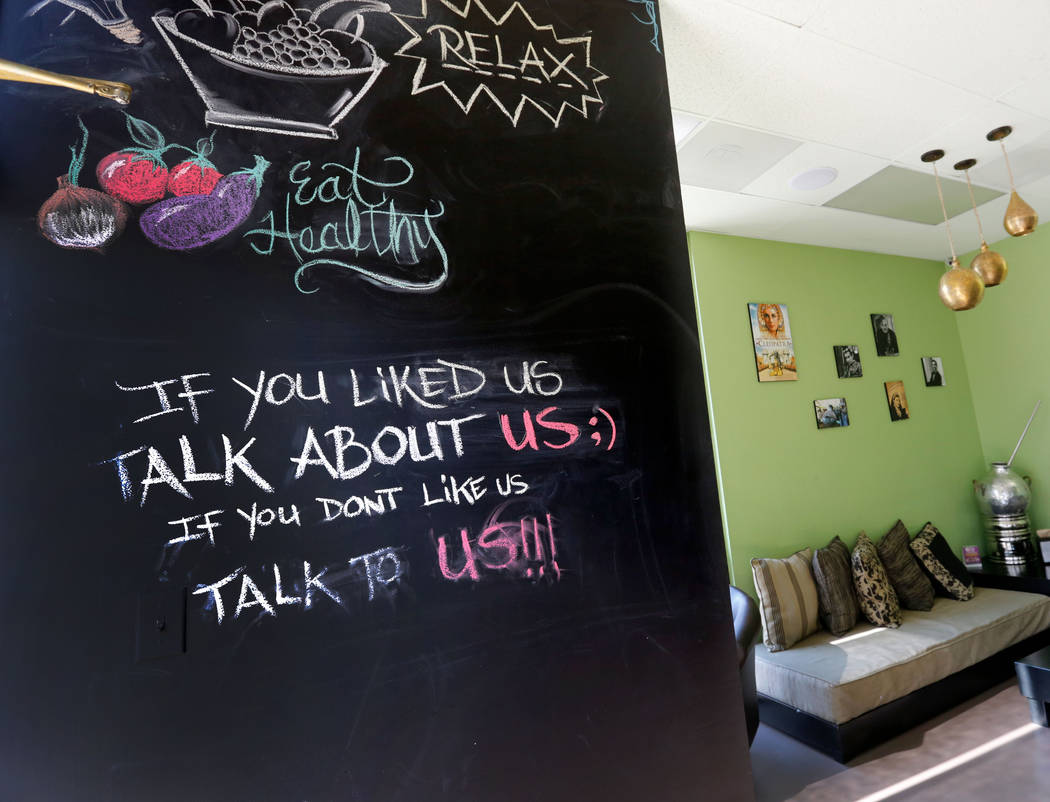 A blackboard is seen at Pots, a vegan and vegetarian restaurant, which serves Egyptian cuisine, in Las Vegas, Thursday, June 7, 2018. (Chitose Suzuki/Las Vegas Review-Journal) @chitosephoto
