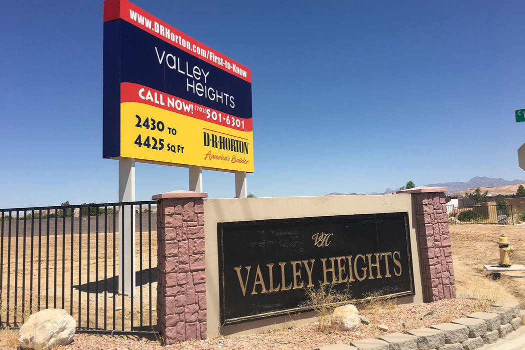 Texas homebuilder D.R. Horton acquired dozens of lots in Valley Heights, a mostly empty subdivision in the rural town of Logandale, as seen on Tuesday, June 12, 2018. (Eli Segall/Las Vegas Review- ...