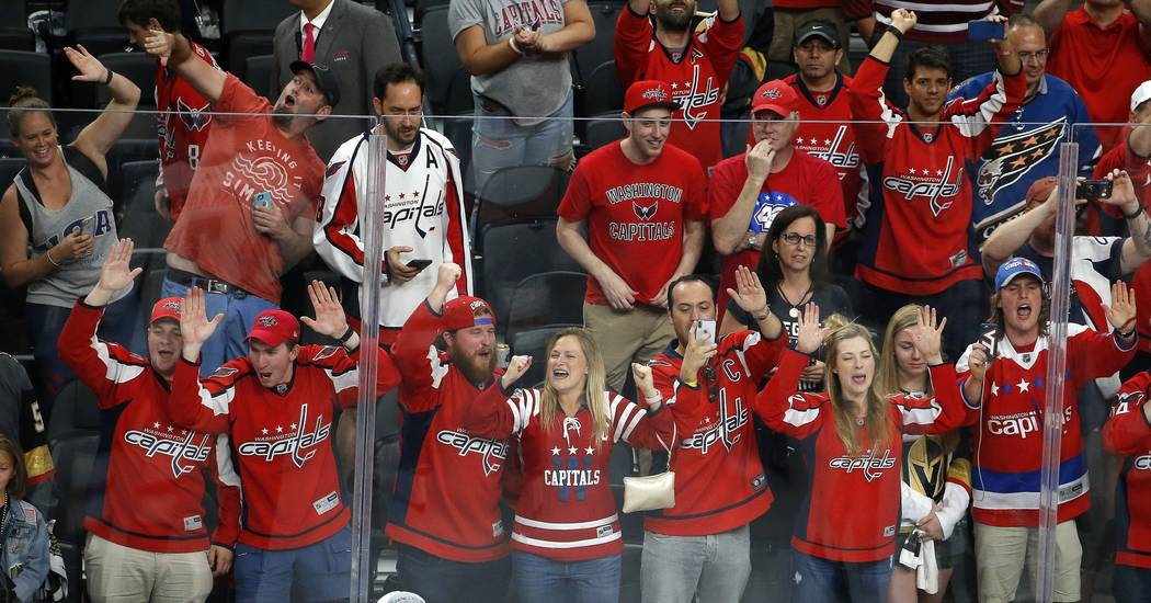 Washington Capitals fans celebrate after the Capitals defeated the Vegas Golden Knights in Game 5 of the NHL hockey Stanley Cup Finals on Thursday, June 7, 2018, in Las Vegas. (AP Photo/Ross D. Fr ...