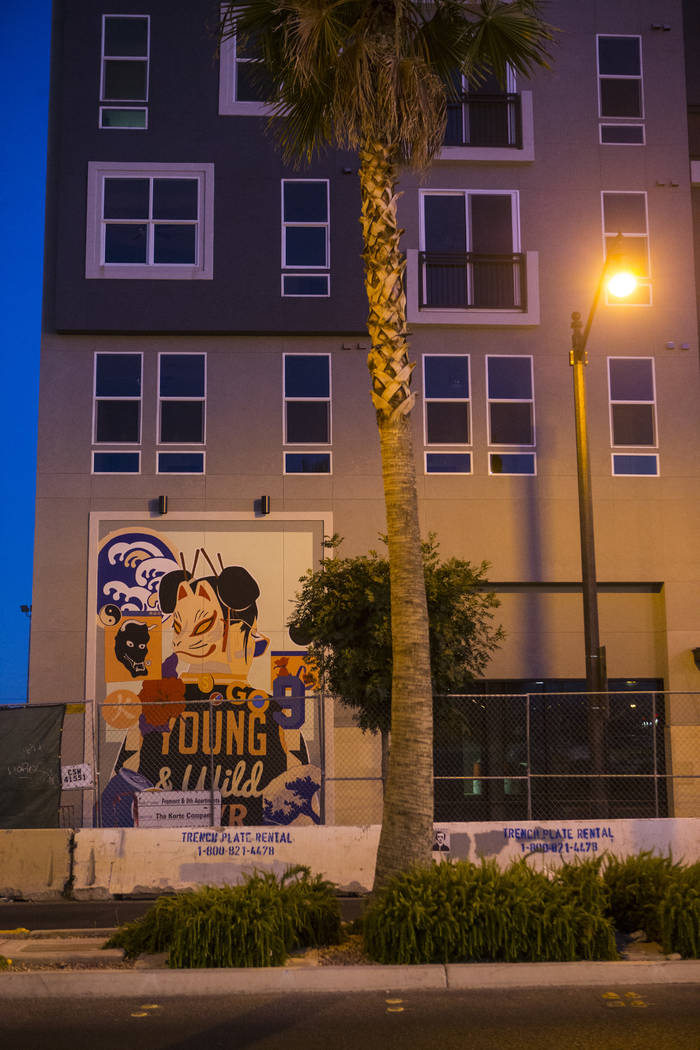 The Fremont9 apartment building, slated to open later this fall, in downtown Las Vegas on Friday, June 22, 2018. Chase Stevens Las Vegas Review-Journal @csstevensphoto