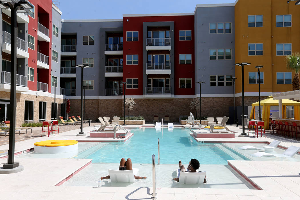 One of two pools at Lotus apartment complex on Spring Mountain Road near Valley View Boulevard Monday, May 25, 2018. Both pools have cabanas and fire pits. One pool will have a DJ booth. K.M. Cann ...