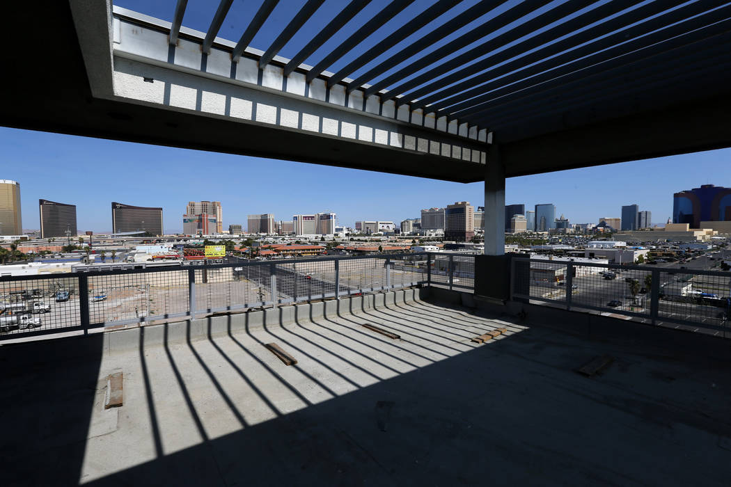 The view the under-construction rooftop sky-lounge at Lotus apartment complex on Spring Mountain Road near Valley View Boulevard Monday, May 25, 2018. K.M. Cannon Las Vegas Review-Journal @KMCanno ...