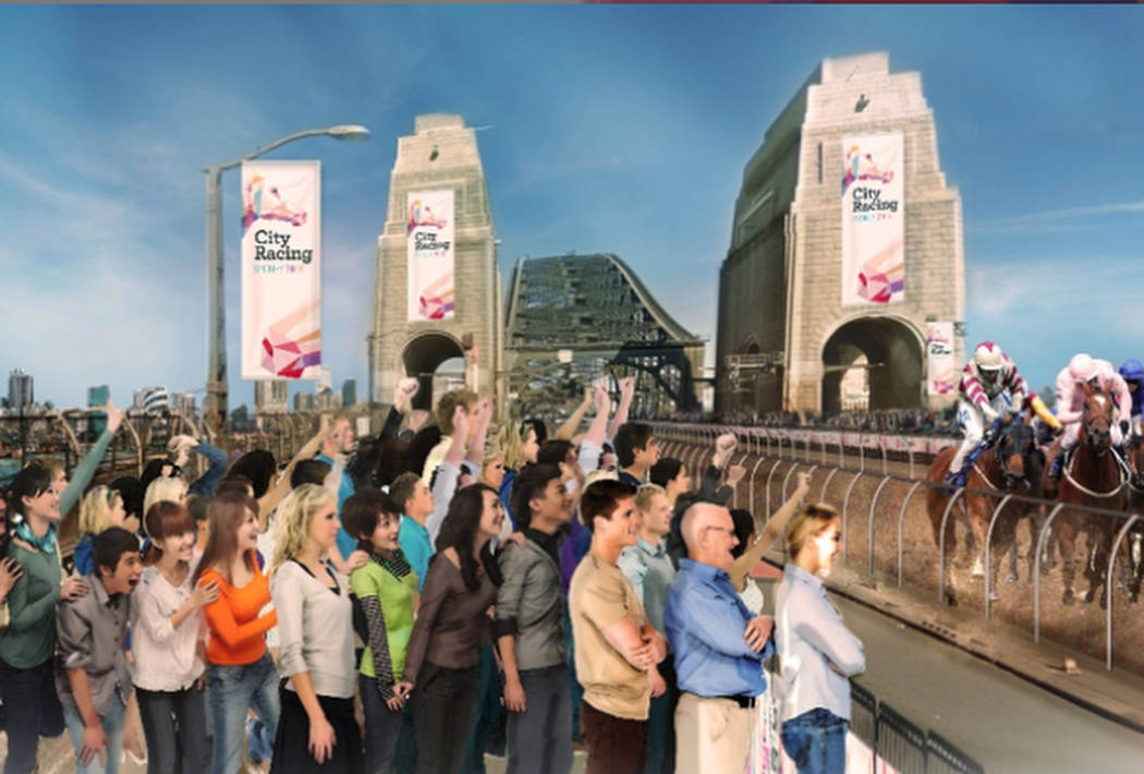 Renderings on the City Racing website show what a street-level horse race might look like. (Sports and Entertainment Ltd.)