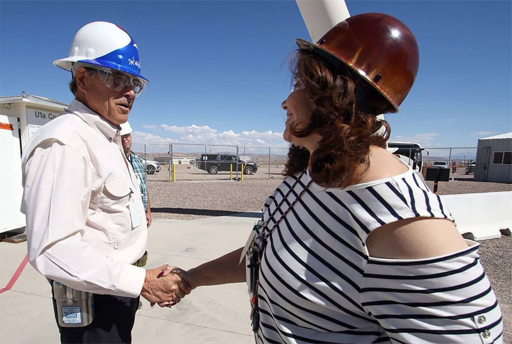 Energy Secretary Rick Perry greets a worker at the Nevada National Security Site. (from @SecretaryPerry on Twitter)