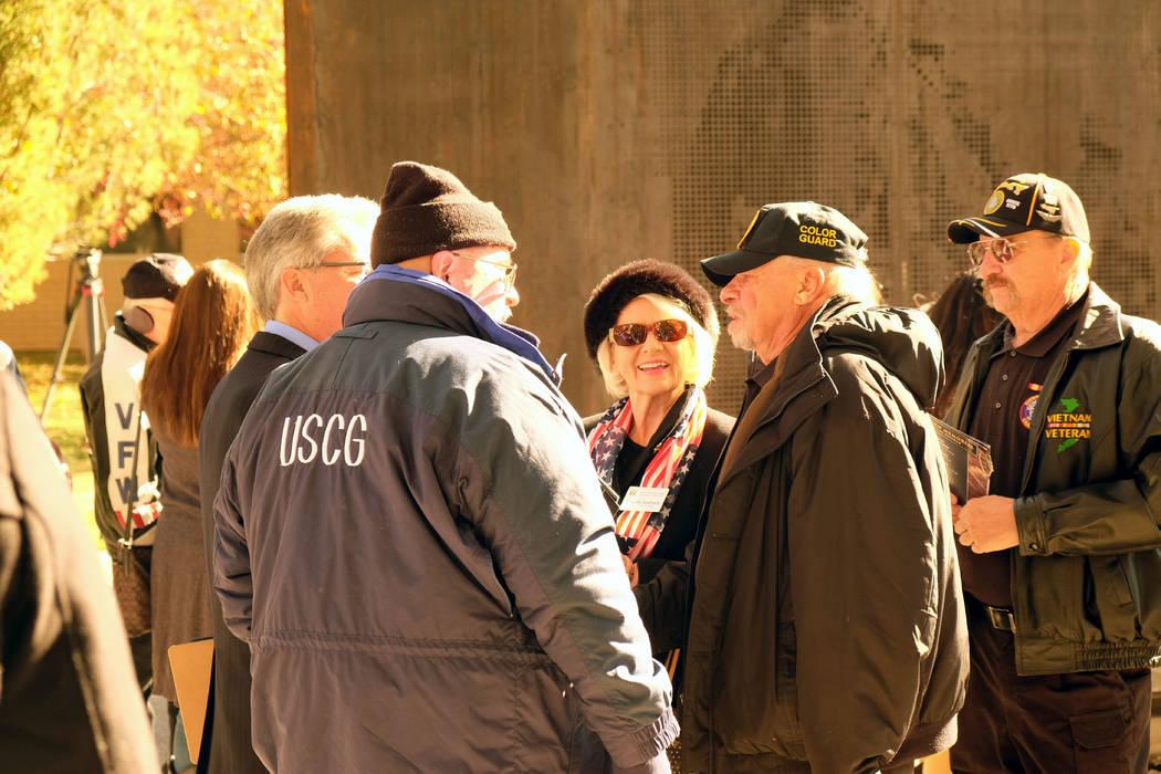 Veterans attend the dedication of the Battle Born Memorial in Carson City on Friday, Nov. 9, 2018. (Bill Dentzer/Las Vegas Review-Journal)