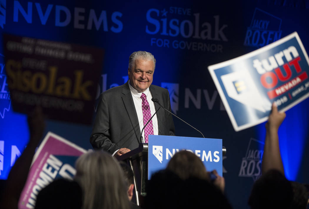 Democrat Steve Sisolak delivers his victory speech at an election night party in Las Vegas after winning the Nevada governor's race, Tuesday, Nov. 7, 2018. (Benjamin Hager/Las Vegas Review-Journal)