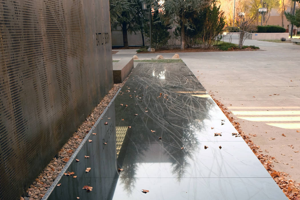 Teens on bicycles and scooters rode on the granite surface of the Battle Born Memorial in the state Capitol grounds in Carson City days after it was dedicated, chipping the stone and cracking it i ...