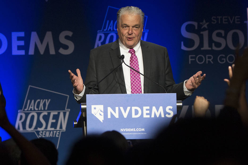 In this Tuesday, November 6, 2018, file photo, Steve Sisolak addresses the crowd after winning the Nevada governors race at an election night event hosted by the Nevada Democrats, at Caesars Palac ...