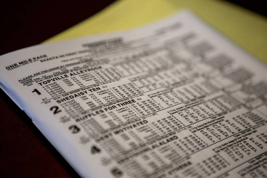 A schedule of horse races and odds at the Green Valley Ranch sports book in Henderson on Thursday, April 26, 2018. Patrick Connolly Las Vegas Review-Journal @PConnPie