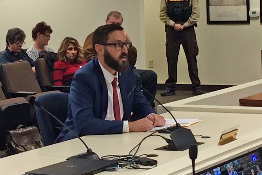 Greg Hafen II addresses the Nye County Commission on Wednesday, Dec. 5, when he was nominated by that board for Dennis Hof's vacant Assembly District 36 seat. (Robin Hebrock/Pahrump Valley Times)