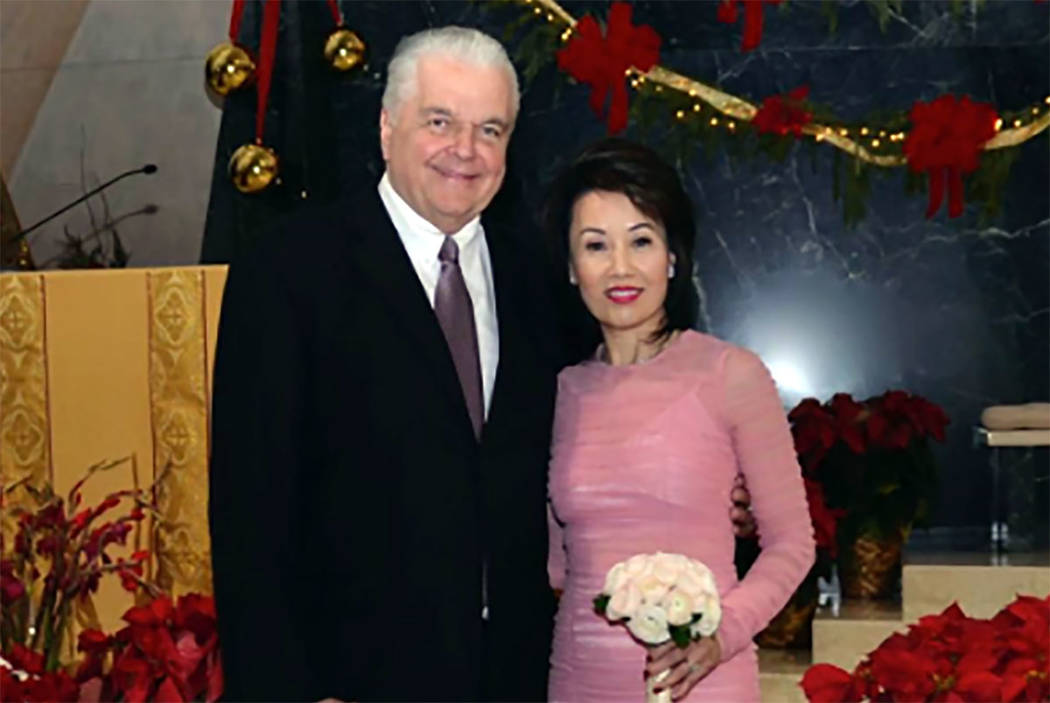 Nevada Gov.-elect Steve Sisolak married Kathy Ong at Guardian Angel Cathedral in Las Vegas on Friday, Dec. 28, 2018. (Twitter/@SteveSisolak)