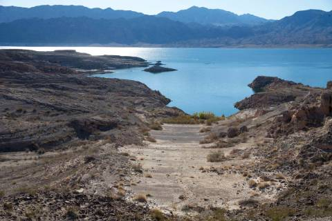 The effects of a receding shoreline just south of the Callville Bay Resort & Marina at Lake Mead National Recreation Area on Thursday, Oct. 18, 2018. (Richard Brian/Las Vegas Review-Journal) @vega ...