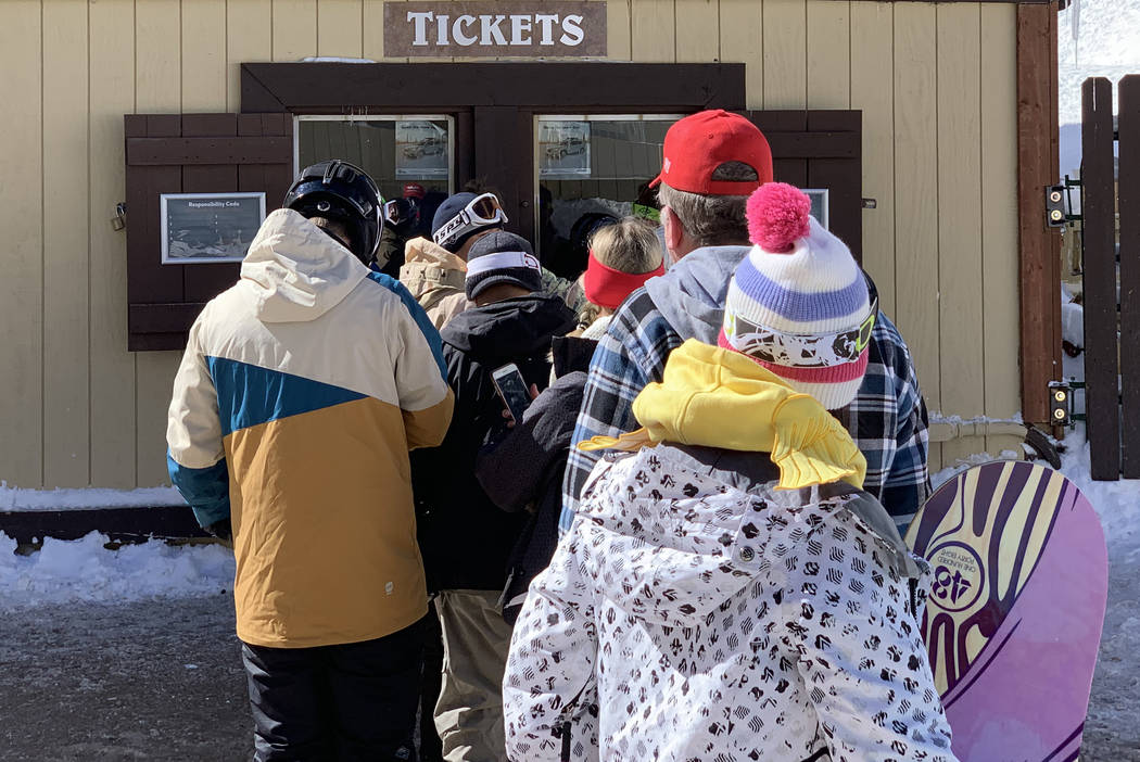 Skiers in line for tickets at Lee Canyon outside Las Vegas on Monday, Feb. 18, 2019. Mount Charleston received nearly four inches of snow on Sunday according to the National Weather Service. (Mat ...