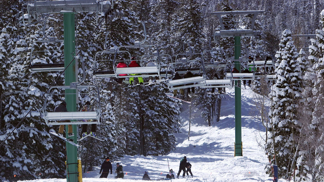 The ski lifts at Lee Canyon outside Las Vegas on Monday, Feb. 18, 2019. Mount Charleston received nearly four inches of snow on Sunday according to the National Weather Service. (Mat Luschek/Las V ...