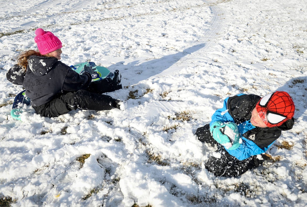 Ava Dupuis, 10, left, and Hayden Sells, 7, throw snowballs at each other at Fox Hill Park in the Summerlin area of Las Vegas, Monday, Feb. 18, 2019. (Caroline Brehman/Las Vegas Review-Journal) @ca ...