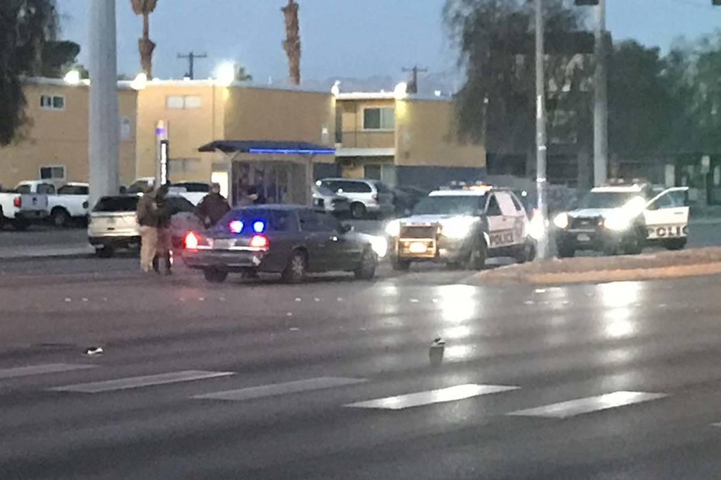 Las Vegas police are investigating a deadly crash early Wednesday morning involving a pedestrian and a van in central Las Vegas. (Lukas Eggen/Las Vegas Review-Journal)