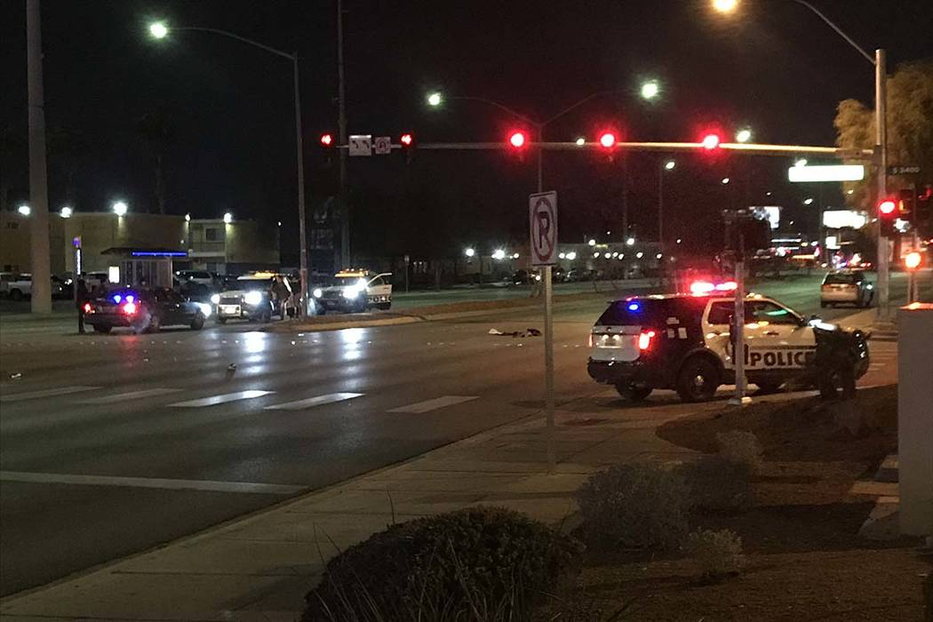 A crash on Wednesday morning shut down West Sahara Avenue between Palace Station and Richfield Boulevard. (Lukas Eggen/Las Vegas Review/Journal)