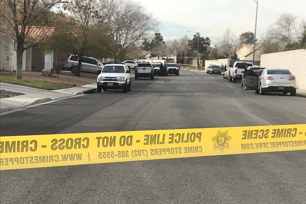 Police are investigating the death of a 2-year-old child in the 8600 block of Manalang Road in southeast Las Vegas, Monday, Feb. 25, 2019. (Lukas Eggens/Las Vegas Review-Journal