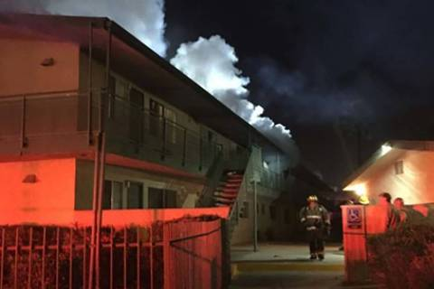 The Las Vegas Fire Department responded to an early morning fire on Monday, March 25, 2019, at an apartment complex at 2717 Kings Way, near Valley View and Sahara. (Las Vegas Fire Department)