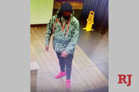 Las Vegas police are looking for a man suspected in the attack of a 75-year-old woman on March 16, 2019, in the 900 block of South Rampart Boulevard. (Las Vegas Metropolitan Police Department)