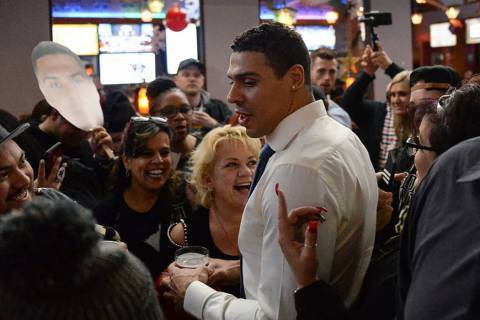 Vegas Golden Knights player Ryan Reaves talks to fans at a party for the release of his new beer, Training Day, at PKWY Tavern Flamingo in Las Vegas, Thursday, Dec. 27, 2018. Caroline Brehman/Las ...