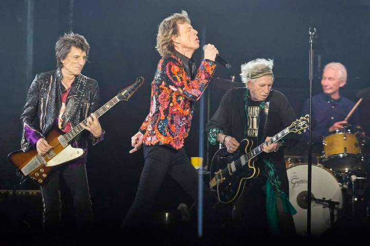 From left, Ronnie Wood, Mick Jagger, Keith Richards and Charlie Watts of the Rolling Stones per ...