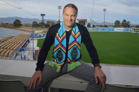 Las Vegas Lights FC head coach Eric Wynalda is shown at Cashman Field at 850 N. Las Vegas Blvd. ...