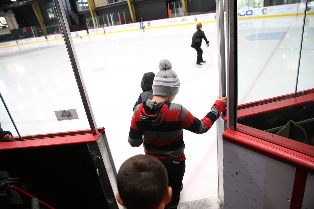 Children take the ice for the Jake Kielb's Hockey Foundation open skate session at City Nationa ...
