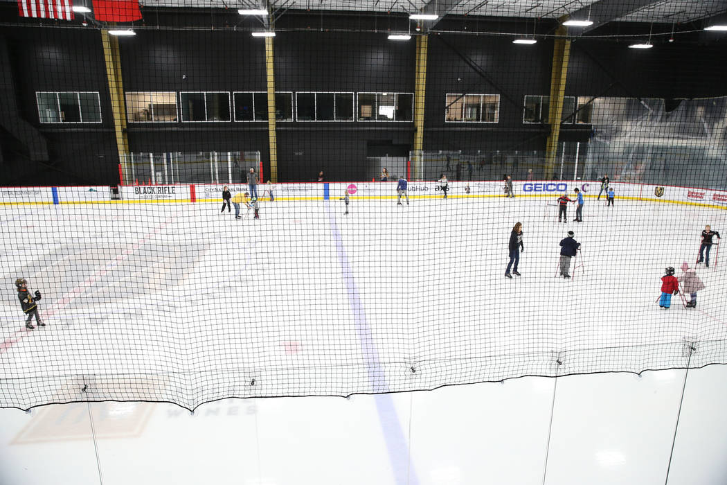Children skate during the Jake Kielb's Hockey Foundation open skate session at City National Ar ...