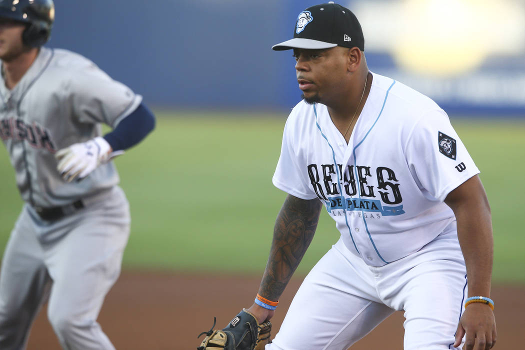 """Las Vegas 51s' Dominic Smith during the debut of the """"Reyes de Plata"""" (Silver Kings), ..."""