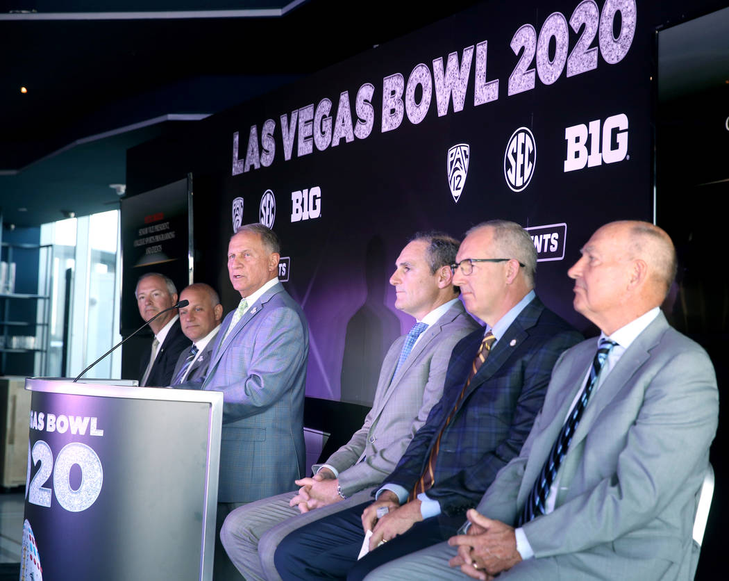 Steve Hill, CEO and president of the Las Vegas Convention and Visitors Authority, from left, Ra ...