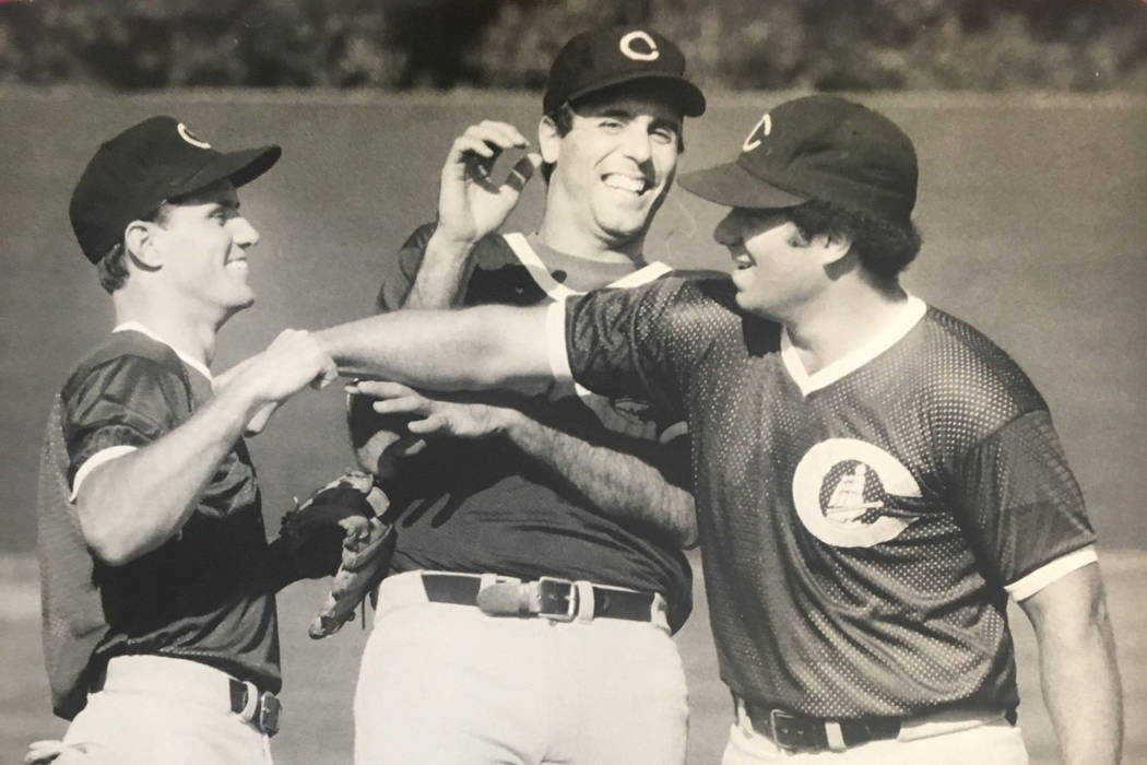 Former Rancho High baseball star Tommy Barrett, left, and Jim Deshaies, center, are shown durin ...
