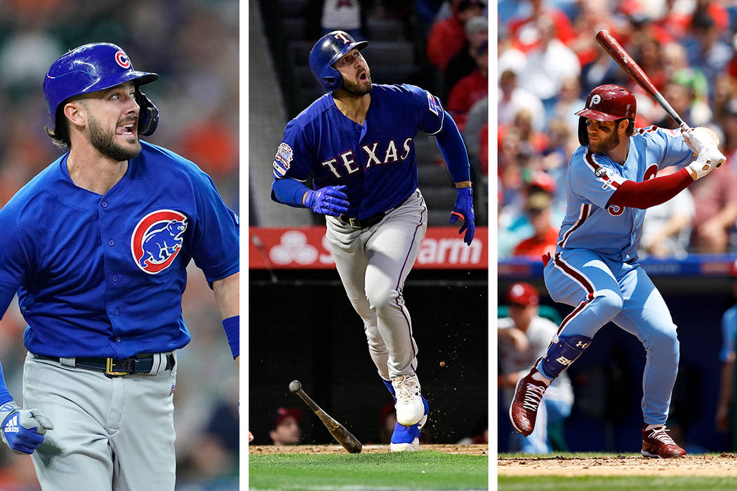 Kris Bryant of the Chicago Cubs (from left), Joey Gallo of the Texas Rangers and Bryce Harper o ...