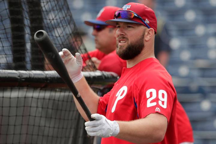 Philadelphia Phillies' Cameron Rupp (29) waits to hit during batting practice before a baseball ...