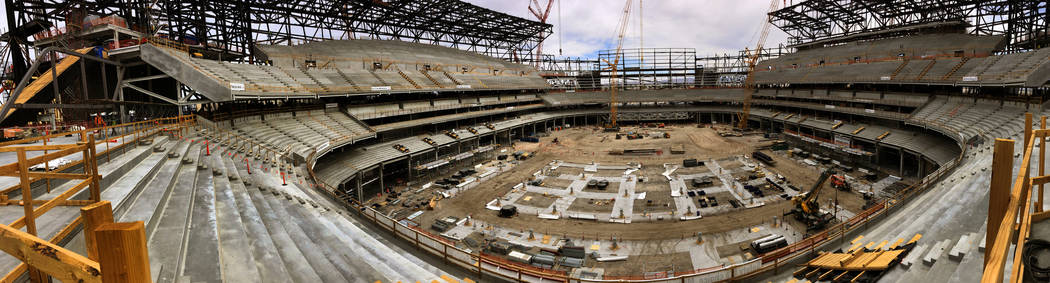 Panoramic view of the interior of the Raiders Stadium as construction continues on Tuesday, Jun ...