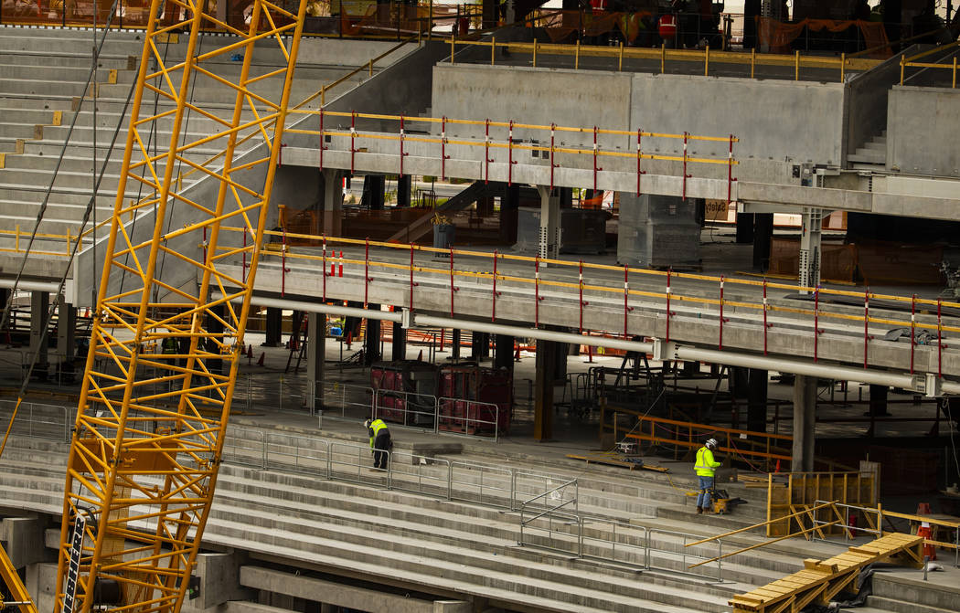 Platforms are being installed which will hold seating in the Raiders Stadium as construction co ...