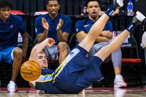 Memphis Grizzlies forward Peyton Aldridge loses the ball after a rebound attempt versus the Bos ...