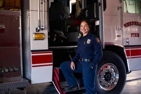 Leslie Hernandez, a firefighter at Station 86 in Henderson, Monday, July 29, 2019. (Rachel Asto ...