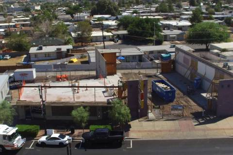 An aerial view of the construction site at South Water Street photographed on Friday, July 26, ...