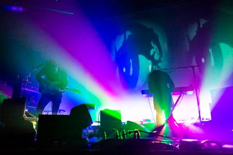 Alex Scally, left, and Victoria Legrand, of Beach House, perform at the Mandalay Bay Events Cen ...