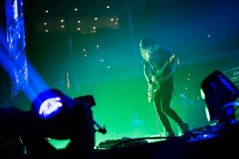 Alex Mackay, of Mogwai, performs at the Mandalay Bay Events Center during the Psycho Las Vegas ...