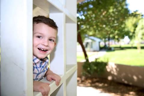 Logan Bayley, 4, at Floyd Lamb Park in Las Vegas, Saturday, Aug. 24, 2019. Logan was born with ...