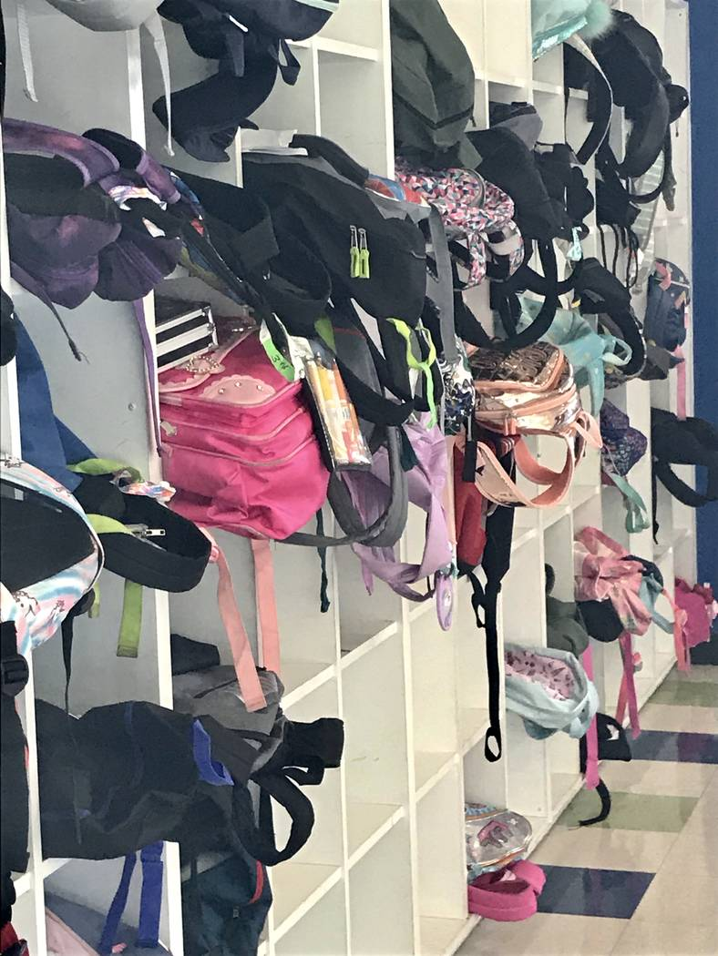 Backpacks are stored Sept. 12 at the Ralph & Betty Engelstad Club in Las Vegas. (Julie Wootton- ...