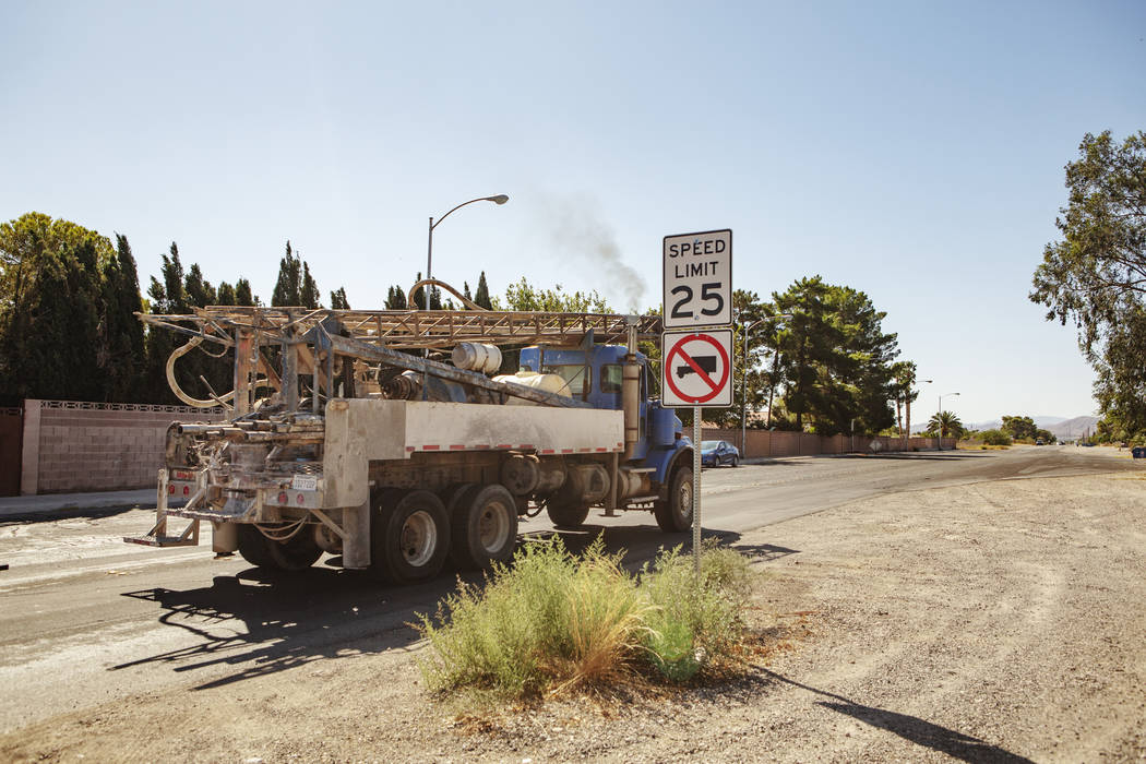 A truck drives by a no truck-zone lane on Wednesday, Sept. 18, 2019, in Las Vegas. (Michael Bla ...