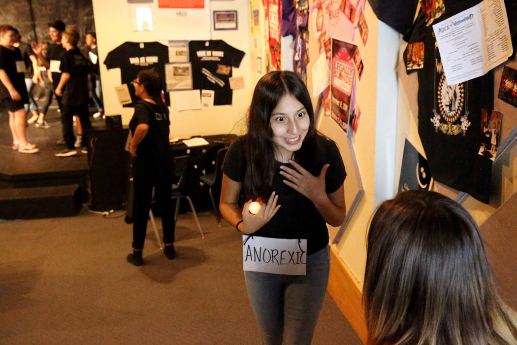 Jada Anaya, left, and Gabriela Limon prepare for a rehearsal for anti-bullying play ÒThe W ...