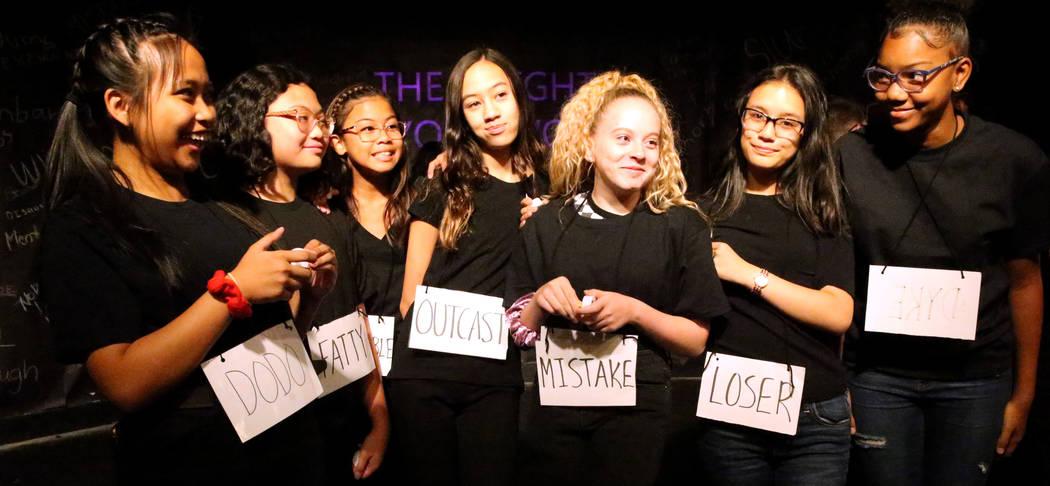 Eighth grade students, from left, Krissy Yamson, Arielle Gonzalez, Cherish Chang, Victoria Mahi ...