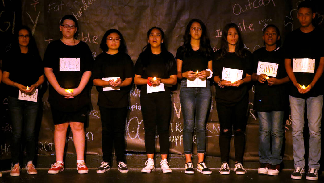 Eighth grade students, from left, Angelica Dimagiba, Johnathan Null, Arielle Gonzalez, Krissy Y ...